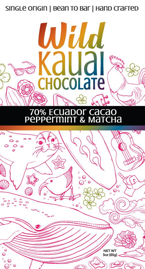 Wild Kauai Chocolate 70% Cacao Peppermint Matcha Bar